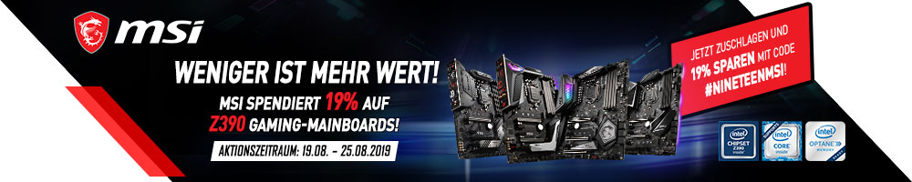 MSI spendiert 19% auf Z390 Gaming-Motherboards!