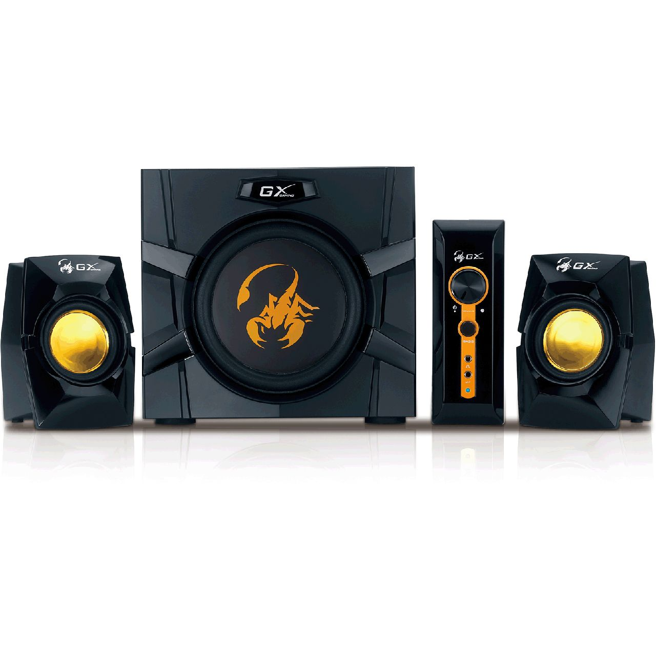 genius sw g2 1 3000 2 1 system 70w rms schwarz gold 2 1 systeme hardware. Black Bedroom Furniture Sets. Home Design Ideas