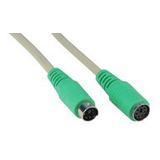 (€2,45*/1m) 2.00m InLine PS/2 Verlängerungskabel PS/2 Buchse auf PS/2 Stecker beige grüne Stecker