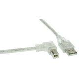 (€2,45*/1m) 2.00m InLine USB2.0 Anschlusskabel gewinkelt links USB A Stecker auf USB B Stecker Transparent