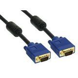 20.00m InLine S-VGA Anschlusskabel Premium-Line VGA 15pol Stecker auf VGA 15pol Stecker Schwarz/Blau vergoldete Stecker