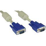 (€3,95*/1m) 2.00m InLine S-VGA Anschlusskabel doppelt geschirmt VGA 15pol Stecker auf VGA 15pol Stecker beige blauer Stecker / Ferritkern