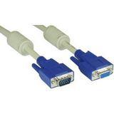 (€2,97*/1m) 3.00m InLine S-VGA Verlängerungskabel doppelt geschirmt VGA 15pol Buchse auf VGA 15pol Stecker beige blauer Stecker / Ferritkern