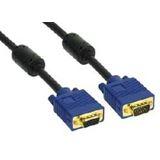 (€3,29*/1m) 10.00m InLine S-VGA Verlängerungskabel Premium-Line VGA 15pol Buchse auf VGA 15pol Stecker Schwarz blauer Stecker / Ferritkern