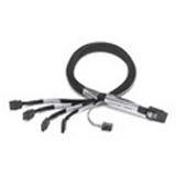 (€31,90*/1m) 1.00m Adaptec SAS Anschlusskabel SFF-8087 Stecker auf 4xSATA Stecker Schwarz Sideband
