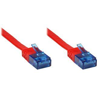 10.00m Good Connections Cat. 6a Patchkabel flach U/UTP RJ45 Stecker auf RJ45 Stecker Rot Knickschutzelement/vergoldet