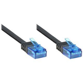 10.00m Good Connections Cat. 6a Patchkabel flach U/UTP RJ45 Stecker auf RJ45 Buchse Schwarz