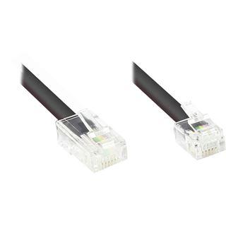 10.00m Good Connections ISDN Anschlusskabel RJ45 Stecker auf RJ12 Stecker Schwarz