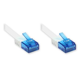 0.50m Good Connections Cat. 6a Patchkabel flach U/UTP RJ45 Stecker auf RJ45 Stecker Weiß vergoldet