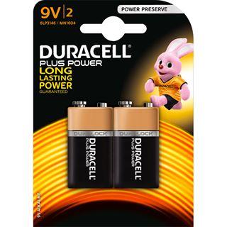 Duracell Plus Power 6LR61 Alkaline E Block Batterie 9.0 V 2er Pack