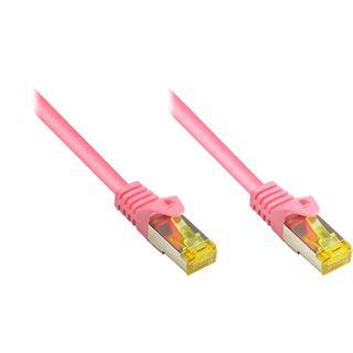 (€1,00*/1m) 50.00m Good Connections Cat. 7 Rohkabel Patchkabel S/FTP PiMF RJ45 Stecker auf RJ45 Stecker Magenta halogenfrei/vergoldet