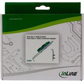 InLine Slotblech USB 2.0 2x USB Buchse Typ C auf intern Mainboardanschluss