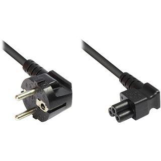 1.80m Good Connections Warmgerätekabel gewinkelt Schutzkontakt Stecker auf Buchse Schwarz