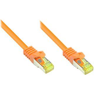 (€26,00*/1m) 0.15m Good Connections Cat. 7 Rohkabel Patchkabel S/FTP PiMF RJ45 Stecker auf RJ45 Stecker Orange halogenfrei/Rastnasenschutz/vergoldet