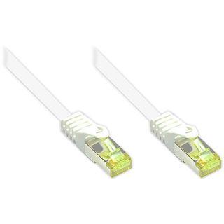 (€26,00*/1m) 0.15m Good Connections Cat. 7 Rohkabel Patchkabel S/FTP PiMF RJ45 Stecker auf RJ45 Stecker Weiß halogenfrei/Rastnasenschutz/vergoldet