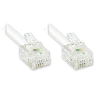 3.00m Good Connections ISDN Verbindungskabel 6p4c RJ11 Stecker auf RJ11 Stecker Weiß