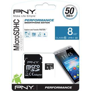 8 GB PNY Performance 2015 microSDHC Class 10 U1 Retail inkl. Adapter