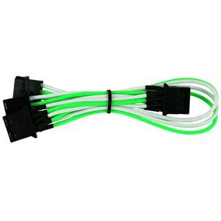 Nanoxia 4-Pin Molex auf 3 x 4-Pin Adapter - 30 cm, grün/weiß