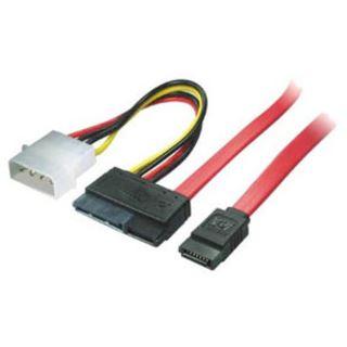 "(€9,80*/1m) 0.50m ShiverPeaks SATA Kombikabel SATA SATA Stecker + 5,25"" Molex Strom Stecker auf SATA-Kombikabel Rot"