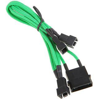 BitFenix Molex zu 3x 3-Pin 7V Adapter 20cm - sleeved grün/schwarz