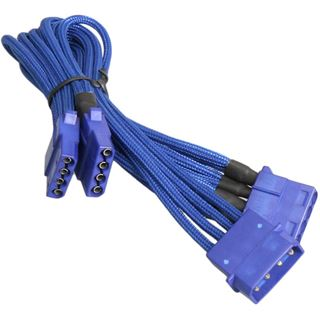 BitFenix Molex zu 3x Molex Adapter 55cm - sleeved blau/blau