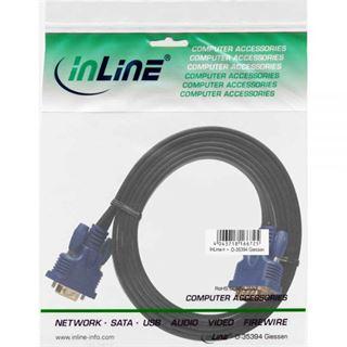 (€2,97*/1m) 3.00m InLine S-VGA Anschlusskabel VGA 15pol Stecker auf VGA 15pol Buchse Schwarz blauer Stecker / flach / vergoldet