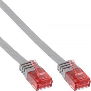 (€0,79*/1m) 10.00m InLine Cat. 6 Patchkabel flach U/UTP RJ45 Stecker auf RJ45 Stecker Grau
