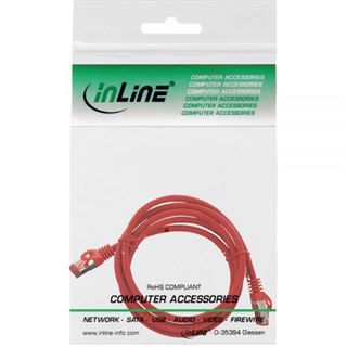 (€2,45*/1m) 2.00m InLine Cat. 6 Patchkabel S/FTP PiMF RJ45 Stecker auf RJ45 Stecker Rot halogenfrei