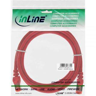 (€13,00*/1m) 0.30m InLine Cat. 6 Patchkabel S/FTP PiMF RJ45 Stecker auf RJ45 Stecker Rot PVC / CCA