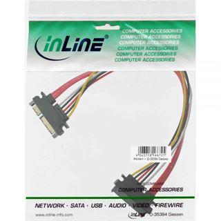(€13,80*/1m) 0.50m InLine SATA 6Gb/s Verlängerungskabel SATA Stecker + Strom auf SATA Buchse + Strom Schwarz/Rot/Gelb/Weiß