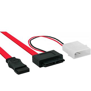 (€22,25*/1m) 0.40m InLine SATA Anschlusskabel Slimline SATA Stecker auf SATA Stecker + Strom Schwarz/Rot