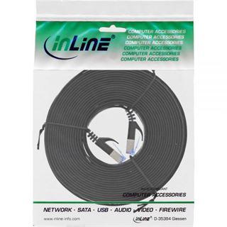 10.00m InLine Cat. 6a Patchkabel flach U/FTP RJ45 Stecker auf RJ45 Stecker Schwarz