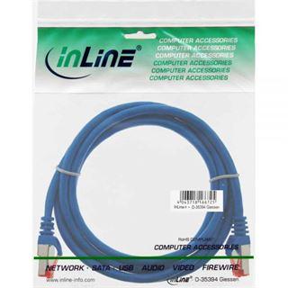 (€7,80*/1m) 0.50m InLine Cat. 6 Patchkabel S/FTP PiMF RJ45 Stecker auf RJ45 Stecker Blau PVC