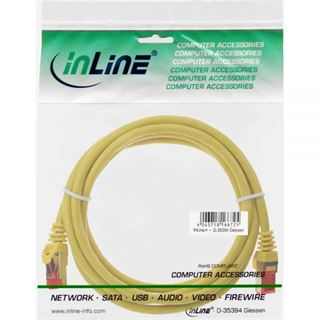 (€1,63*/1m) 3.00m InLine Cat. 6 Patchkabel S/FTP PiMF RJ45 Stecker auf RJ45 Stecker Gelb PVC