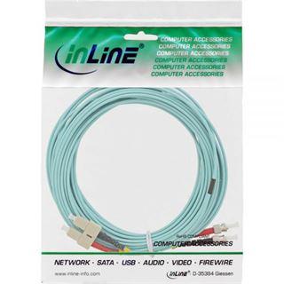(€0,99*/1m) 15.00m InLine LWL Duplex Patchkabel 50/125 µm OM3 SC Stecker auf ST Stecker Türkis