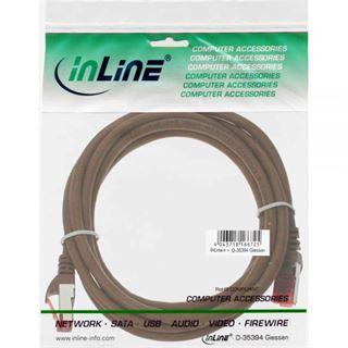 (€4,90*/1m) 1.00m InLine Cat. 6 Patchkabel S/FTP PiMF RJ45 Stecker auf RJ45 Stecker Braun Kupfer / PVC
