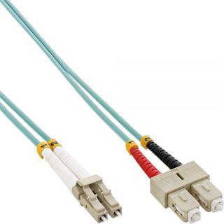 (€0,85*/1m) 35.00m InLine LWL Duplex Patchkabel 50/125 µm OM3 LC Stecker auf SC Stecker Türkis