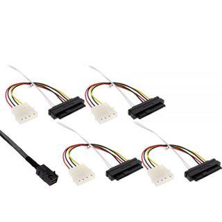 """(€95,80*/1m) 0.50m InLine SAS 6Gb/s Anschlusskabel SFF-8643 Stecker auf SFF-8482 Stecker + 5,25"""" Molex Strom Stecker Schwarz"""
