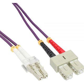 (€2,19*/1m) 10.00m InLine LWL Duplex Patchkabel 50/125 µm OM4 LC Stecker auf SC Stecker Violett