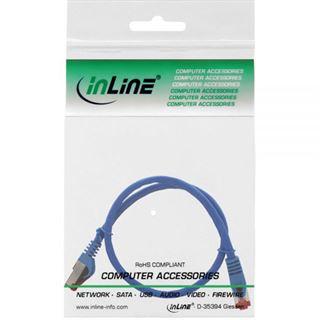 (€15,60*/1m) 0.25m InLine Cat. 6 Patchkabel S/FTP PiMF RJ45 Stecker auf RJ45 Stecker Blau halogenfrei