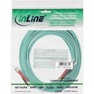 (€1,98*/1m) 5.00m InLine LWL Duplex Patchkabel 50/125 µm OM3 ST Stecker auf ST Stecker Türkis