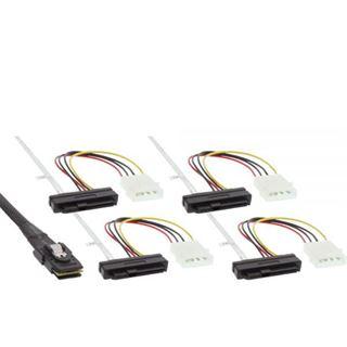 """(€34,53*/1m) 0.75m InLine SAS 6Gb/s Anschlusskabel SFF-8087 Stecker auf SFF-8482 Stecker + 5,25"""" Molex Strom Stecker Schwarz"""