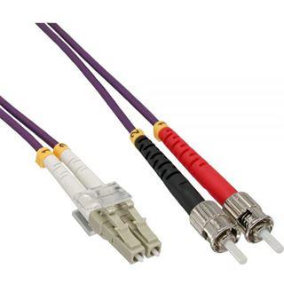 (€2,20*/1m) 25.00m InLine LWL Duplex Patchkabel 50/125 µm OM4 LC Stecker auf ST Stecker Violett