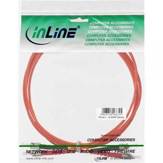 (€8,90*/1m) 1.00m InLine LWL Duplex Patchkabel 50/125 µm OM2 ST Stecker auf ST Stecker Orange