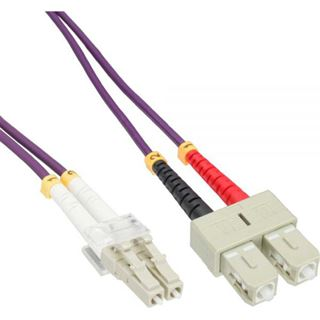 (€3,97*/1m) 3.00m InLine LWL Duplex Patchkabel 50/125 µm OM4 LC Stecker auf SC Stecker Violett
