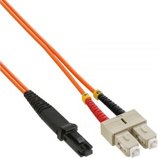 (€9,90*/1m) 1.00m InLine LWL Duplex Patchkabel 50/125 µm OM2 MT-RJ Stecker auf SC Stecker Orange