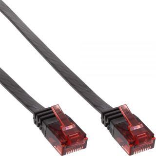 (€0,79*/1m) 10.00m InLine Cat. 6 Patchkabel flach U/UTP RJ45 Stecker auf RJ45 Stecker Schwarz