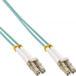 (€15,80*/1m) 0.50m InLine LWL Duplex Patchkabel 50/125 µm OM3 LC Stecker auf LC Stecker Türkis
