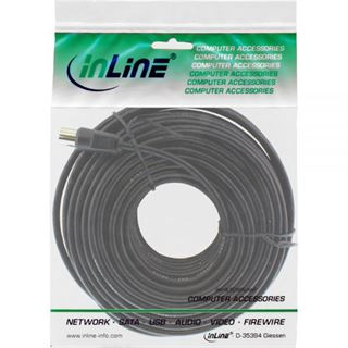 (€0,35*/1m) 20.00m InLine Antenne Anschlusskabel doppelt geschirmt IEC-Stecker auf IEC-Buchse Schwarz vernickelt