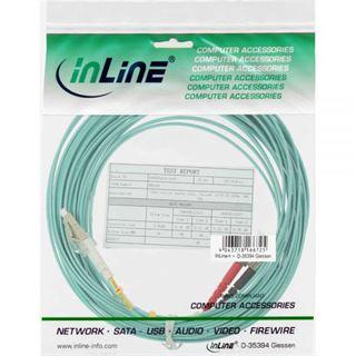 (€2,18*/1m) 5.00m InLine LWL Duplex Patchkabel 50/125 µm OM3 LC Stecker auf ST Stecker Türkis